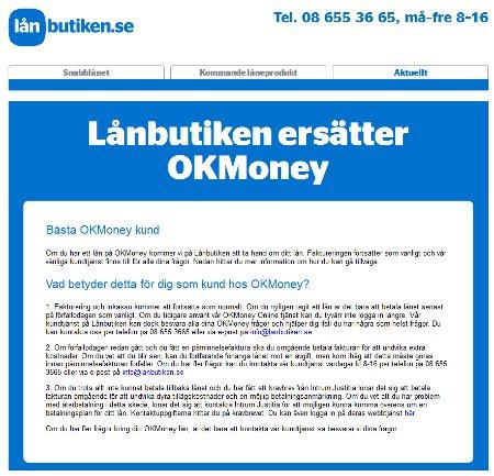 Lånbutiken ersätter OK Money
