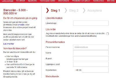 Screenshort Bank Norwegian ansökning kreditkort