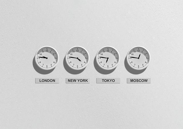 Klockor som visar tiden på några utvalda börser i världen