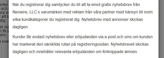 Skärmdump från Finansexperter.com villkor 181219